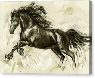 Horse Stylised Pop Art Drawing Potrait Poser Canvas Print