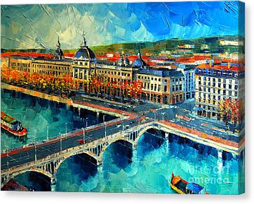 Hotel Dieu De Lyon Canvas Print by Mona Edulesco