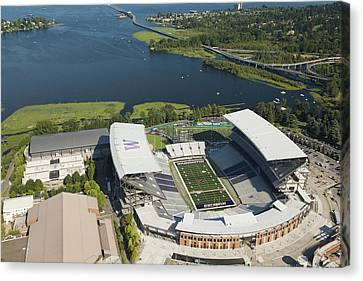 Husky Stadium At The University Canvas Print by Andrew Buchanan/SLP