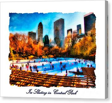 Ice Skating In Central Park Canvas Print