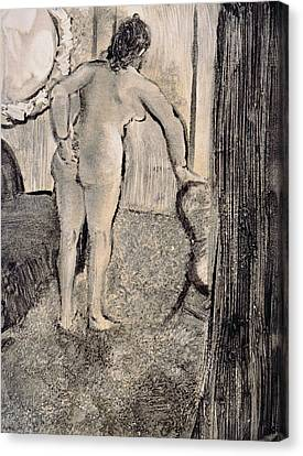 Girl Studying Canvas Print - Illustration From La Maison Tellier By Guy De Maupassant by Edgar Degas