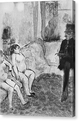 Illustration From La Maison Tellier Canvas Print by Edgar Degas