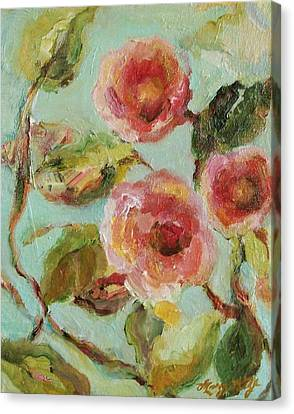 Canvas Print featuring the painting Impressionist Floral Painting by Mary Wolf