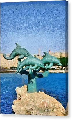 In Front Of The Old City Of Rhodes Canvas Print by George Atsametakis