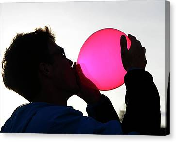 Inhaling Nitrous Oxide From A Balloon Canvas Print