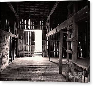 Canvas Print featuring the photograph Inside An Old Barn by John S
