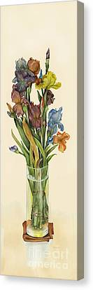 irises in Vase Canvas Print by Nan Wright