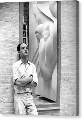 Stainless Steel Canvas Print - Isamu Noguchi With Sculpture by Underwood Archives