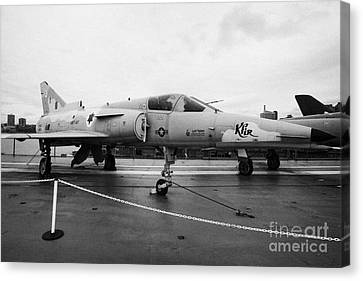 Israel Aircraft Industries Kfir On Disply On The Flight Deck At The Intrepid Sea Air Space Museum Canvas Print by Joe Fox