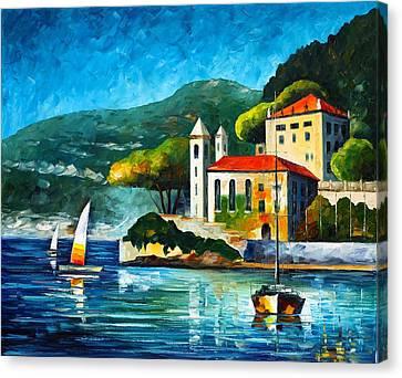 Italy Lake Como Villa Balbianello Canvas Print by Leonid Afremov