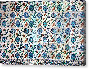 Iznik Ceramics With Floral Design Canvas Print by Artur Bogacki