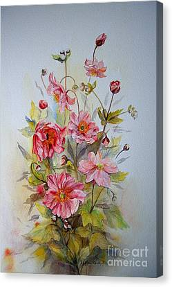 Canvas Print featuring the painting Japanese Anemones by Beatrice Cloake