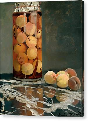 Jar Of Peaches Canvas Print by Mountain Dreams