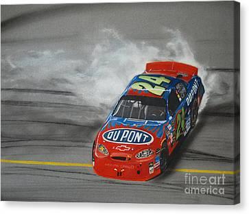 Jeff Gordon Victory Burnout Canvas Print by Paul Kuras