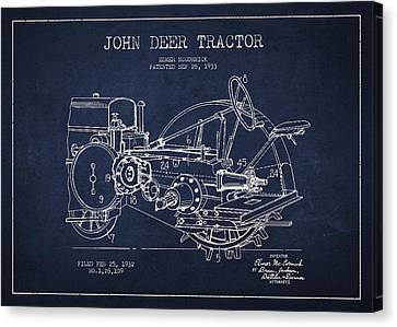 Tractors Canvas Print - John Deer Tractor Patent Drawing From 1933 by Aged Pixel