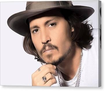 Canvas Print featuring the photograph Johnny Depp by Karon Melillo DeVega