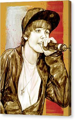 Justin Bieber - Stylised Drawing Art Poster Canvas Print by Kim Wang