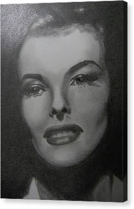 Canvas Print featuring the drawing Kathryn Hepburn by Lori Ippolito