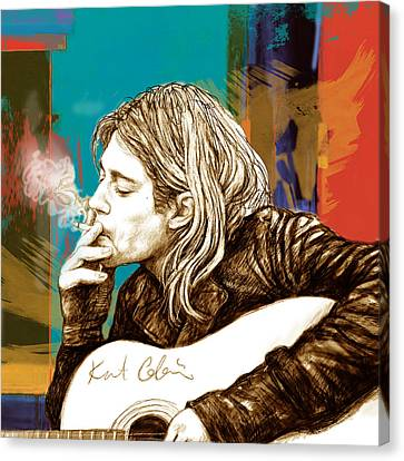 Kurt Cobain Stylised Pop Morden Art Drawing Sketch Portrait Canvas Print by Kim Wang