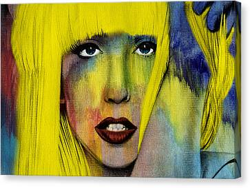 Modern Digital Art Canvas Print - Lady Gaga  by Mark Ashkenazi