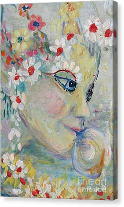 Canvas Print featuring the painting Lady In The Waterfall by Avonelle Kelsey