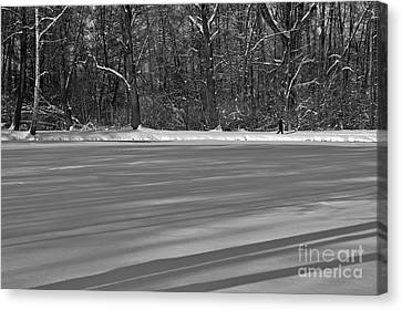 Lake Under Snow Canvas Print by Dariusz Gudowicz