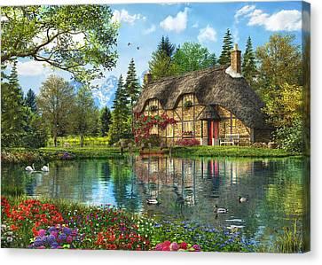 Lake View Cottage Canvas Print
