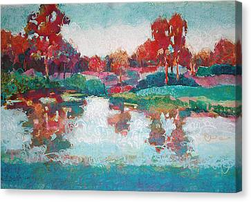 Canvas Print featuring the painting Lakeside Reflections by Roger Parent