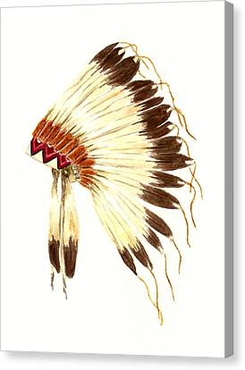 Feathers Canvas Print - Lakota Headdress by Michael Vigliotti