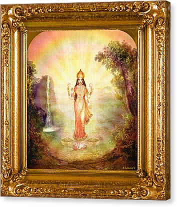 Lakshmi With The Waterfall Canvas Print by Ananda Vdovic