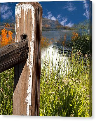 Landscape With Fence Pole Canvas Print by Gunter Nezhoda