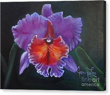 Canvas Print featuring the painting Lavender Orchid by Jenny Lee