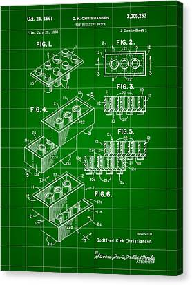 Lego Patent 1958 - Green Canvas Print by Stephen Younts