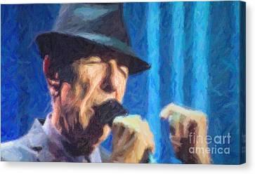 Leonard Cohen In Concert 2013 Canvas Print by Liz Leyden