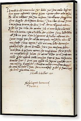 Letter Of Michelangelo Canvas Print by British Library