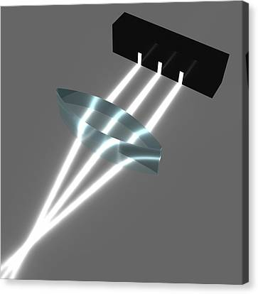 Light Refraction With Biconvex Lens Canvas Print by Russell Kightley