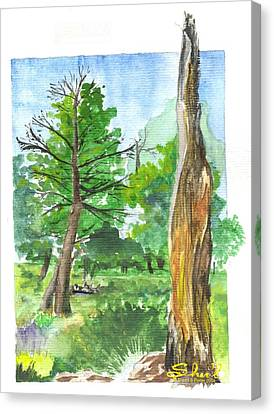 Canvas Print featuring the painting Lightening Strike Tree by Sherril Porter