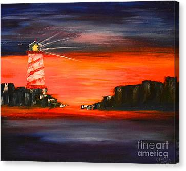 Lighthouse Bay Canvas Print by Denise Tomasura