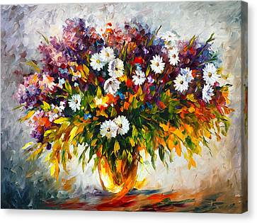 Lilac And Camomiles Canvas Print by Leonid Afremov