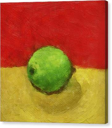 Lime With Red And Gold Canvas Print by Michelle Calkins