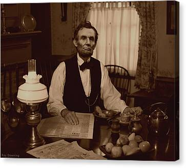 Lincoln Drawings Canvas Print - Lincoln At Breakfast by Ray Downing