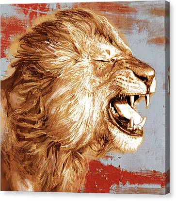 Lion Stylised Pop Art Drawing Potrait Poser Canvas Print by Kim Wang
