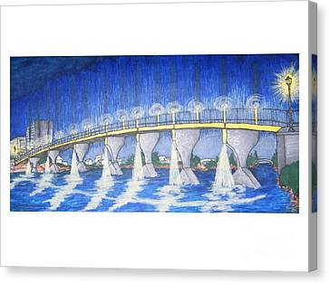 Lit Bridge Canvas Print