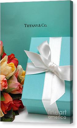Little Blue Gift Box Canvas Print by Amy Cicconi