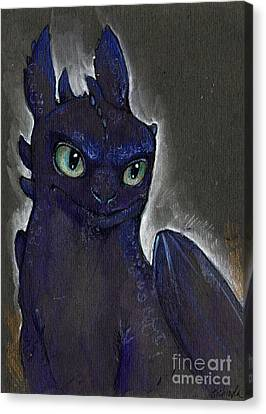 Toothless Canvas Print - Little Dragon by Angel  Tarantella