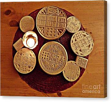 Liturgical Bread Stamps Canvas Print by Sarah Loft