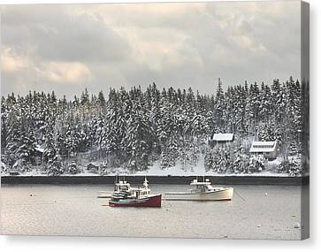 Lobster Boats After Snowstorm In Tenants Harbor Maine Canvas Print by Keith Webber Jr