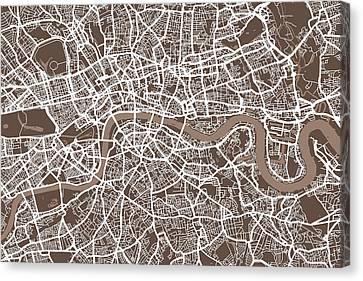United Kingdom Canvas Print - London England Street Map by Michael Tompsett