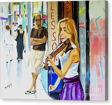 Music Canvas Print - Lone Audience by Judy Kay