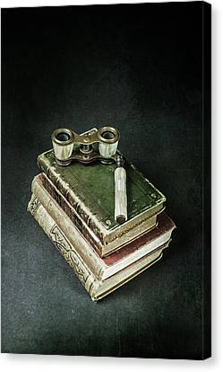 Reading Canvas Print - Lorgnette With Books by Joana Kruse